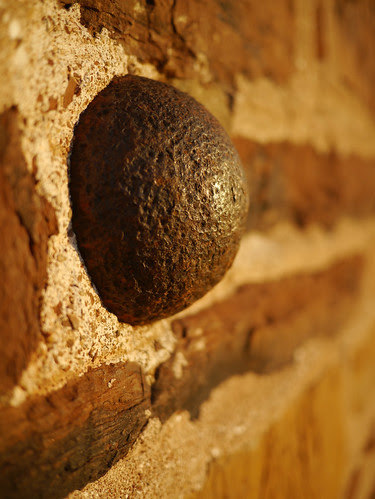 Cannonball marks the location of impact at the Old Stone House, Manassas National Battlefield, Virginia