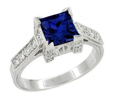 Art Deco Square Castle 1 Carat Princess Cut Blue Sapphire
