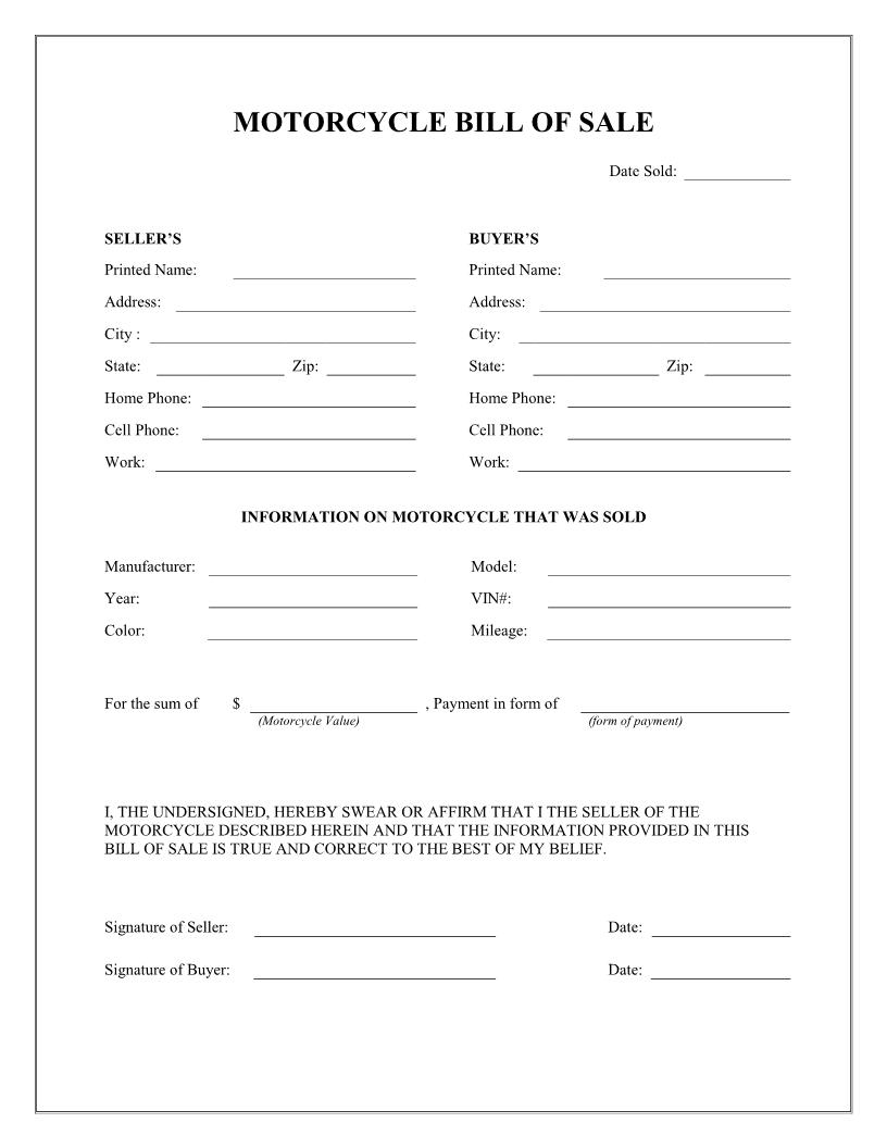 Free Printable Motorcycle Bill of Sale Form (GENERIC)