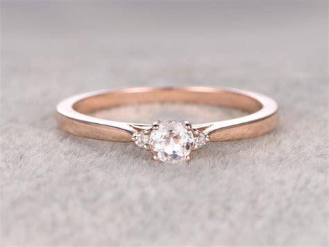 3 Stones Morganite Engagement Ring Rose Gold,Diamond