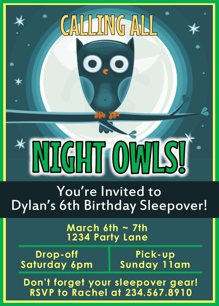 night owl sleepover party invitation 4561