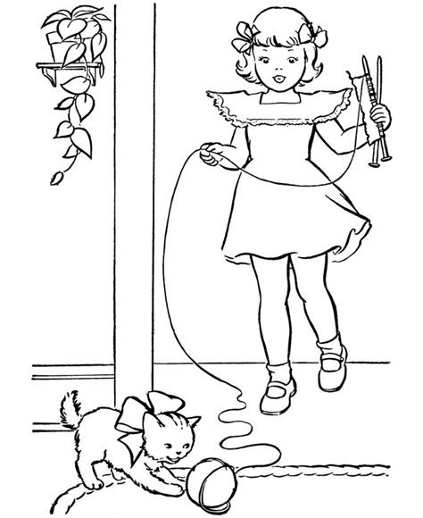 pet cat coloring page kitty  ball  yarn