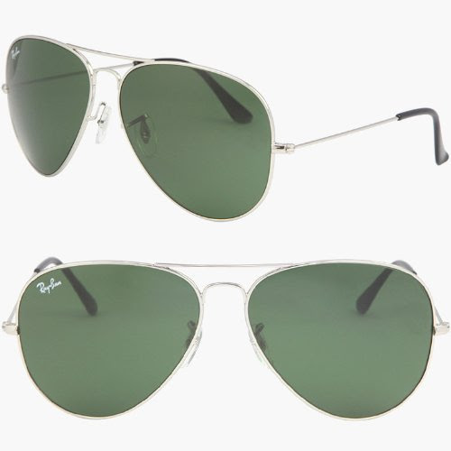 Ray-Ban Classic Aviator Sunglasses Arista Gold Crystal Green