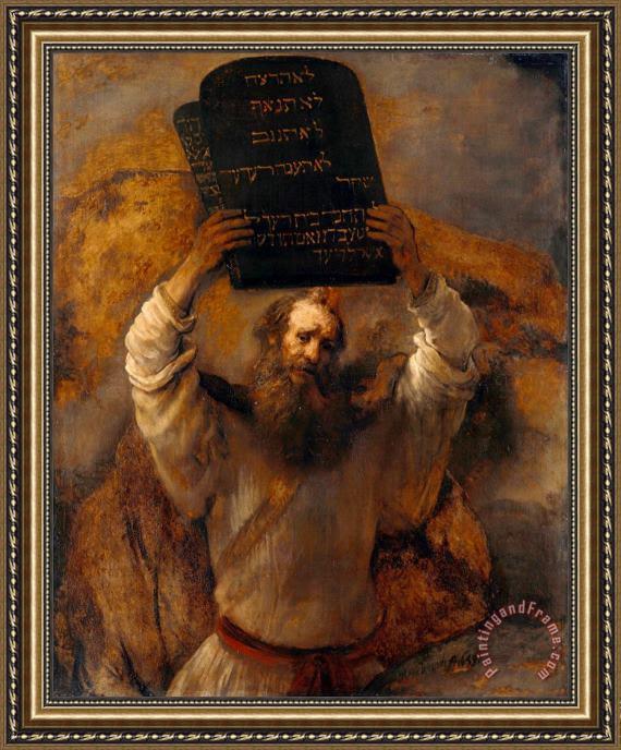 Rembrandt Harmensz Van Rijn Moses With The Ten Commandments Framed