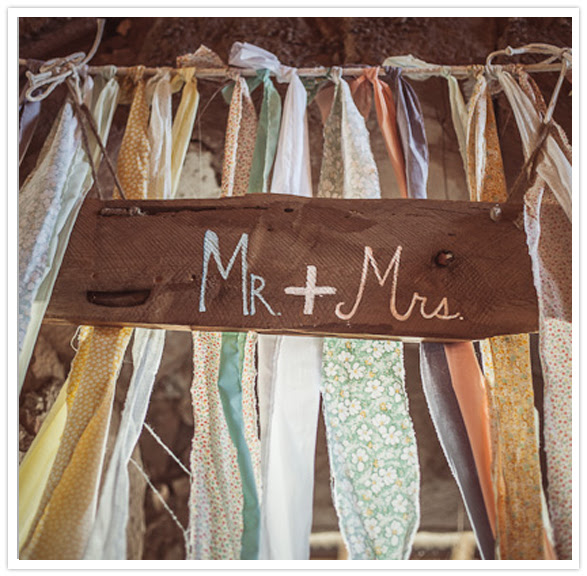 mr. and mrs. streamer signage