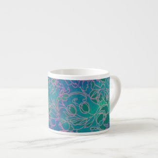 Funky Neon Pink Floral Vintage Blue Flower Pattern Espresso Cup