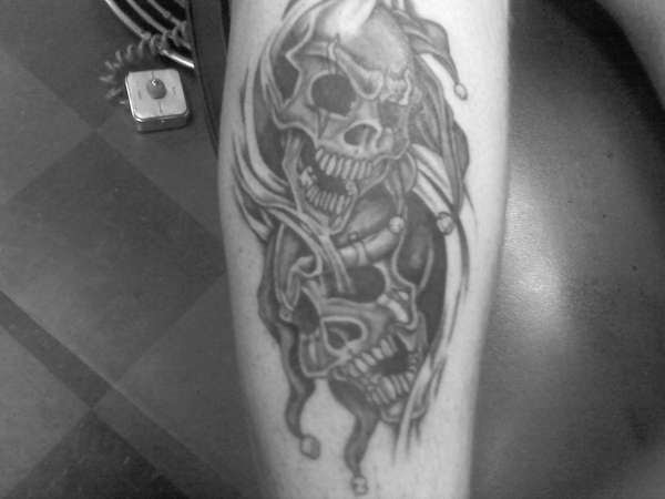 Laugh Now Cry Later Skulls Tattoo