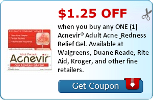 $1.25 off when you buy any ONE (1) Acnevir® Adult Acne & Redness Relief Gel. Available at Walgreens, Duane Reade, Rite Aid, Kroger, and other fine retailers.