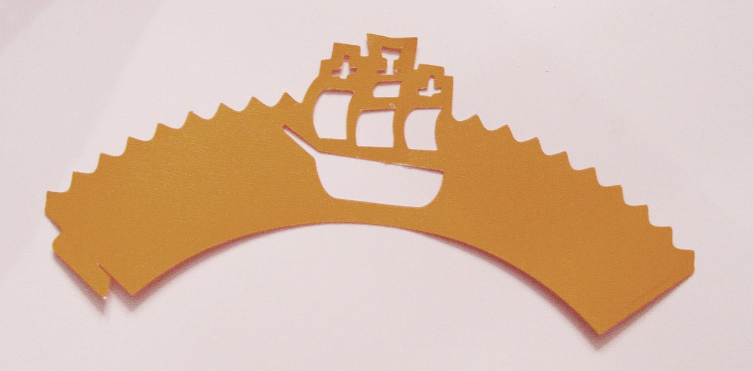 Pirate Ship Cupcake Wrapper (cwt-029) - Made To Order