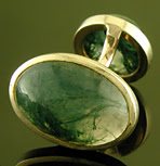 Moss agate cufflinks crafted in gold. (J9472)