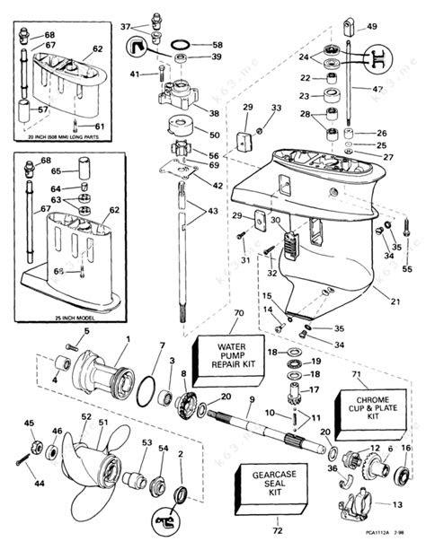 Evinrude 1999 15 - E15RB4EEB, Gearcase - parts catalog