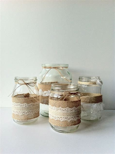Variety Rustic Glass Jar Collection Set of Four by