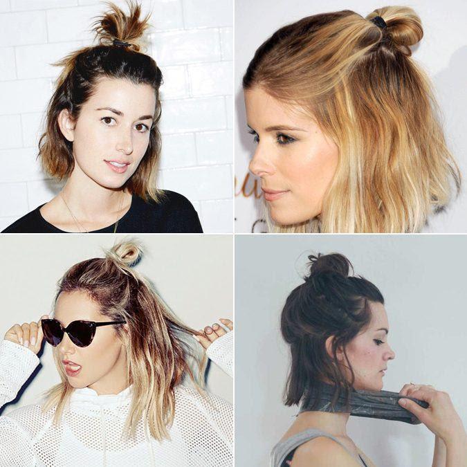 Resultado de imagem para half bun cabelo curto