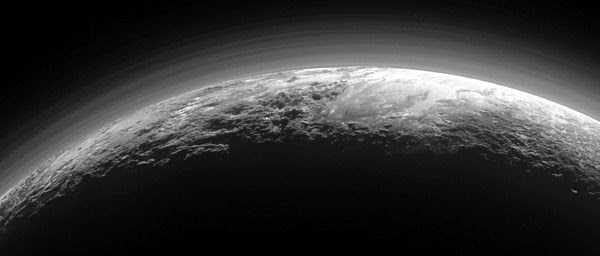 An image of Pluto that was taken by NASA's New Horizons spacecraft from a distance of 11,000 miles (18,000 kilometers) on July 14, 2015.