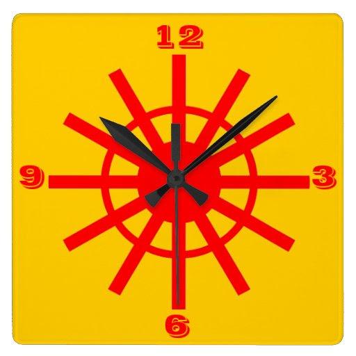 Ultra modern minimalist yellow and red wall clocks from Zazzle.