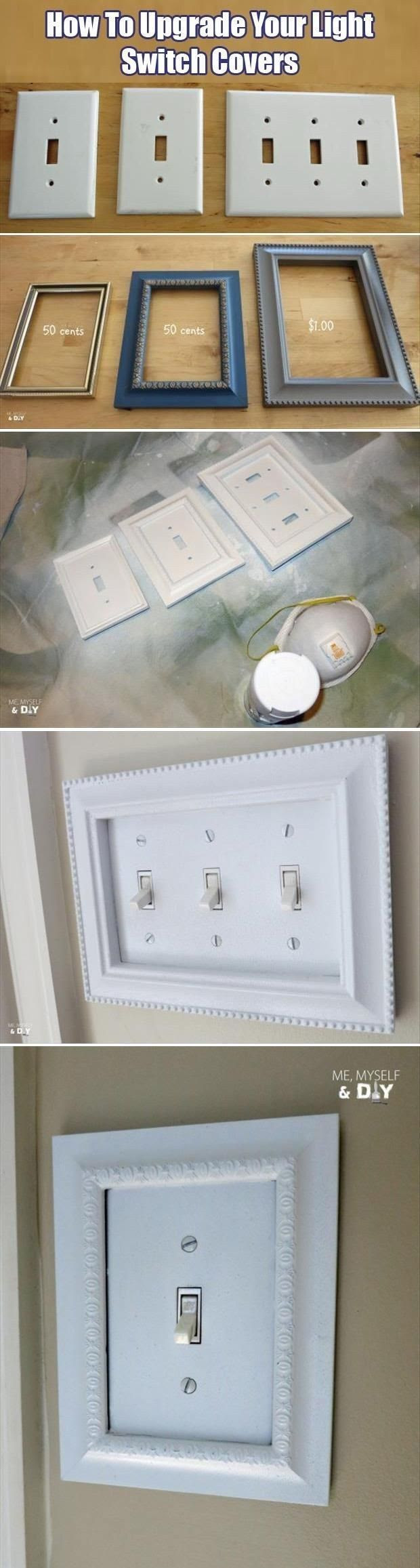 Inexpensive craft store frames fit perfectly around your light switch covers. | 31 Easy DIY Upgrades That Will Make Your Home Look More Expensive    love!  @thedailybasics ♥♥♥