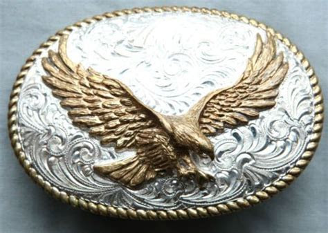 Vintage Crumrine Cowboy Cowgirl Eagle Western Belt Buckle
