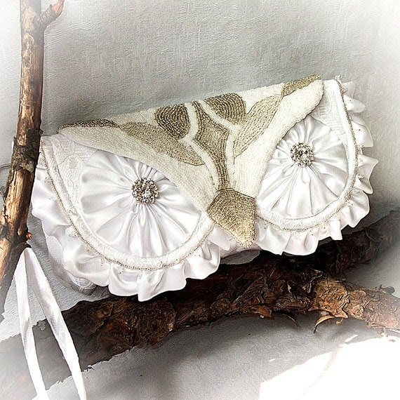 Luxury Woodland Snowy Owl Bridal Clutch with Wristlet - Satin, Lace, and Heavy Bead Embroidery