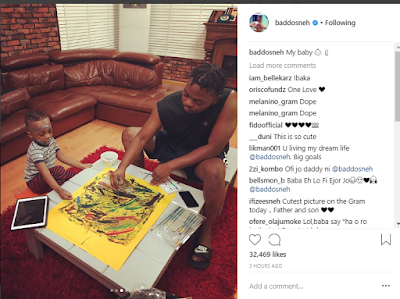 Olamide Shares A Video Of Him & His Son Painting