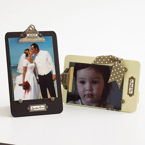 Clipboards decorated with photos and scrapbooking supplies