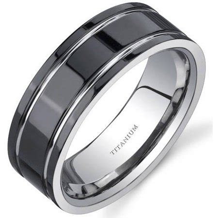 oravo mens black comfort fit titanium wedding band ring