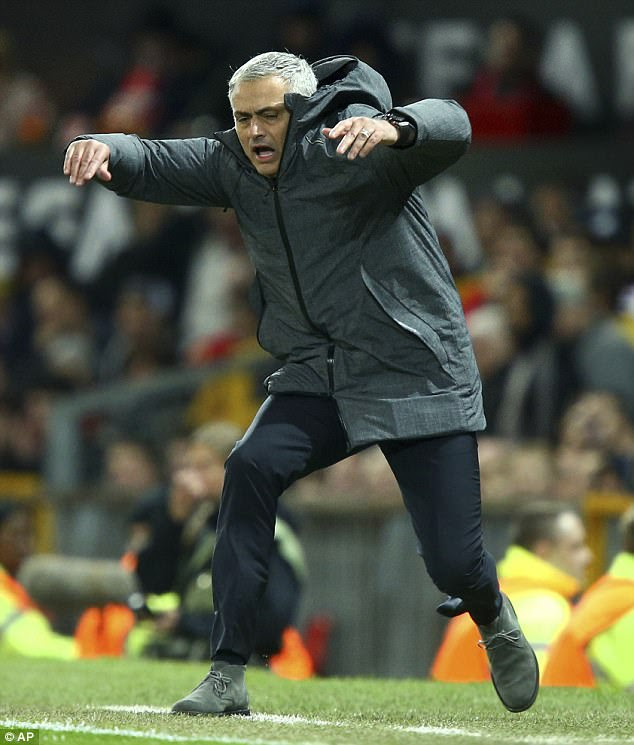 Mourinho was typically animated on the touchline during Manchester United's 2-1 victory