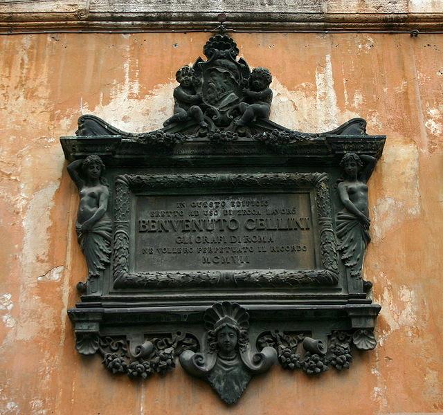 File:9794 - Roma, Zecca papale - Placca per Benvenuto Cellini - Foto Giovanni Dall'Orto, 21-Apr-2008.jpg
