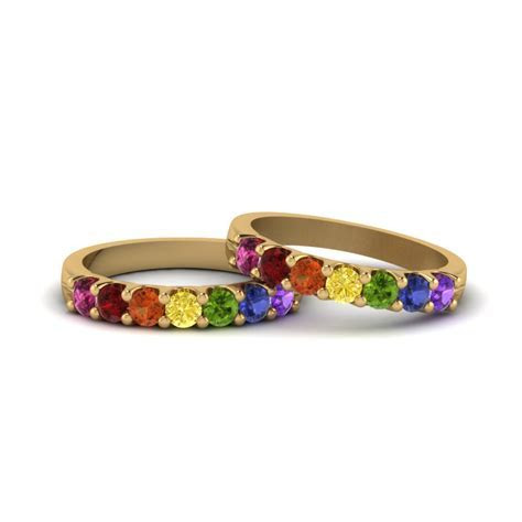 Lesbian Wedding Band With Rainbow In 14K White Gold