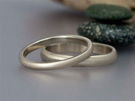 White Gold Wedding Ring Set 2mm and 3mm Wide Sold 14k Gold