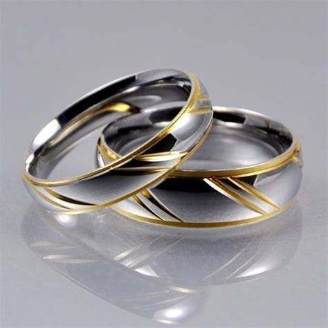 Mens Women Silver Gold Stainless Steel 4mm 6mm Matching