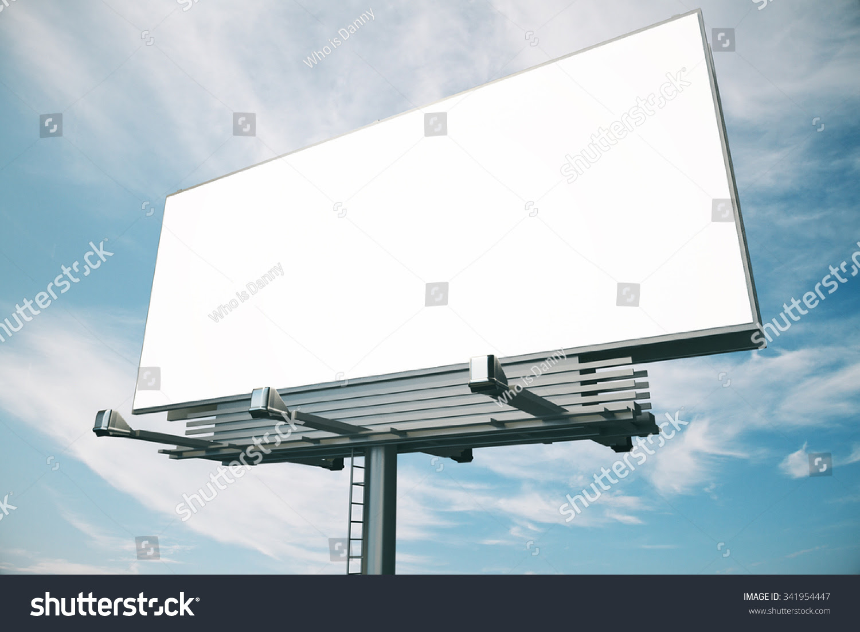 Blank Billboard Blue Sky Background Mock Stock Photo 341954447 ...