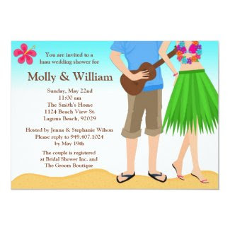 Luau Wedding Shower Invitation Couple