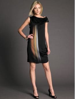 BR Monogram: BR Monogram silk draped abstract dress - Gold light