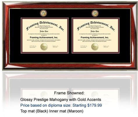 Two dual diploma frame with two degrees and college major
