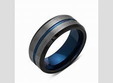 Blue Tungsten Wedding Band   Gray Brushed Tungsten Ring   8mm   Mens ? LUXURY BANDS LA