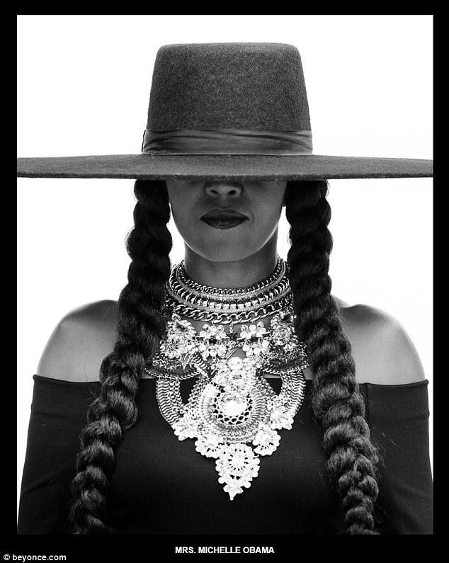 Entre em formação: a ex-primeira-dama Michelle Obama (acima) juntou-se aos outros amigos e familiares de Beyoncé ao prestar homenagem ao cantor no aniversário de 36 anos de forma bastante adequada ao entrar em formação