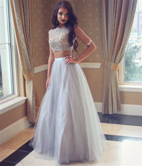Grey prom dress,A line two pieces evening gown ,formal