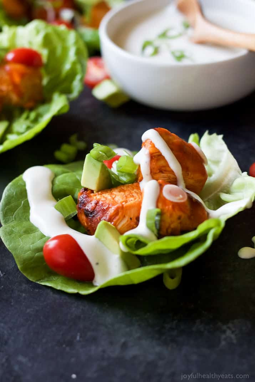 Grilled Buffalo Chicken Lettuce Wraps