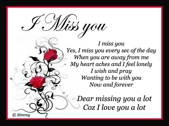 Dear I Miss You A Lot Free Miss You Ecards Greeting Cards 123