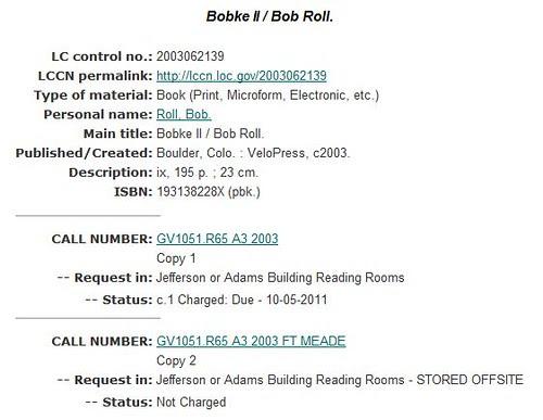 Bobke II book record