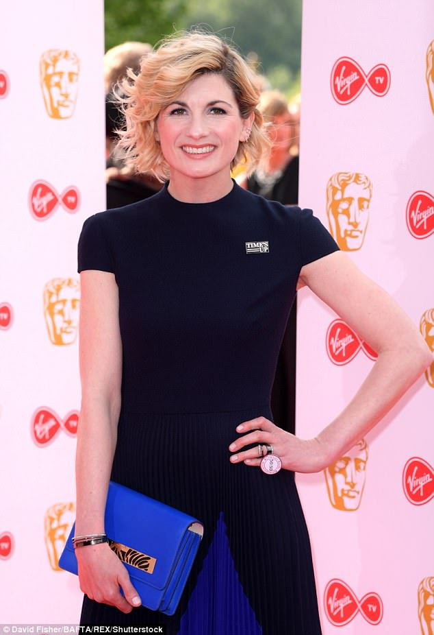 Statement: Jodie Whittaker took to the BAFTA red carpet wearing a Time's Up badge while wearing a gorgeous pleated blue gown