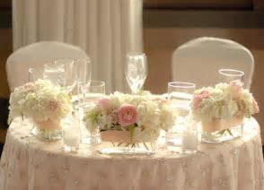 Sweetheart table decor: flowers and overlay   My Vintage