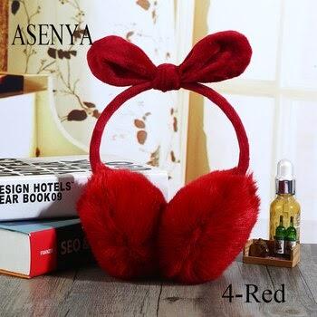 dbd942d6b3 ASENYA Adjustable Imitation Rabbit Hair Bowknot Winter Earmuffs For Women  Many Colors Available Earmuffs In Ear