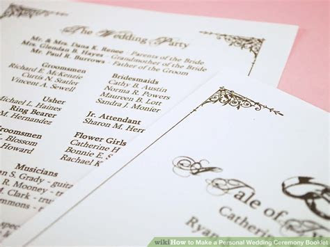 How to Make a Personal Wedding Ceremony Booklet: 11 Steps