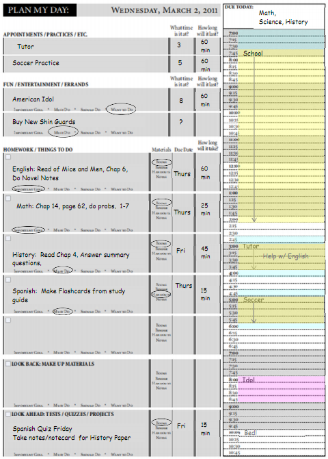 Daily Agenda For Students – Daily Planner