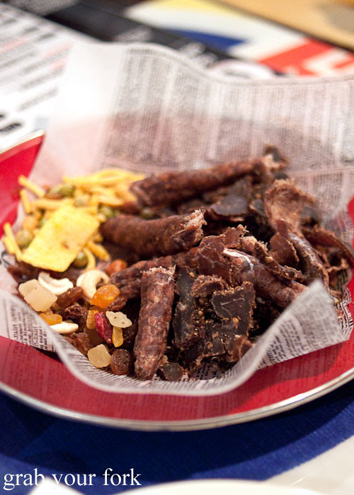 oom karels biltong dry wors cape fruit and nuts and bhuja mix at lucky tsotsi south african street food darlinghurst