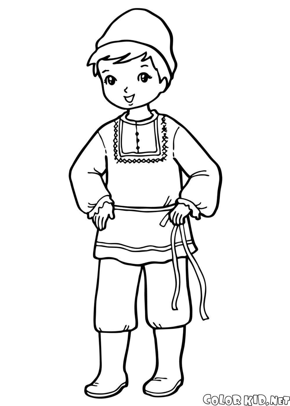 Boyama Sayfası Ulusal Kostüm çocuk