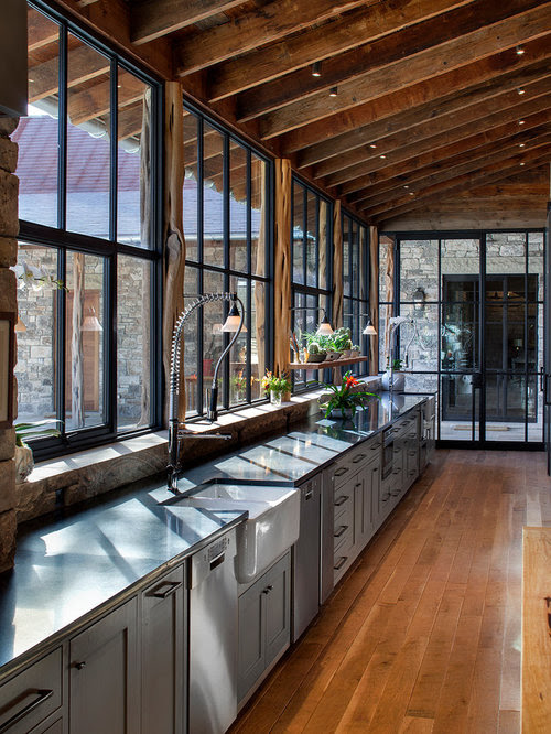 Rustic Single-wall Kitchen Design Ideas, Renovations & Photos