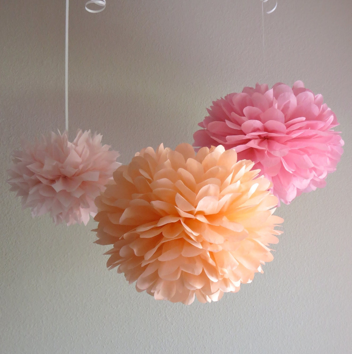 Peachy Pink Tissue Paper Pom Poms - 7 Piece Set - More Colors Available