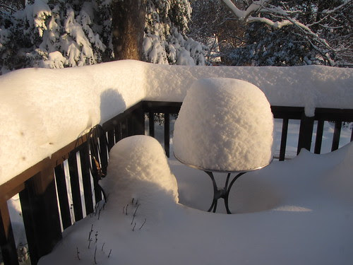 bistro table in snow